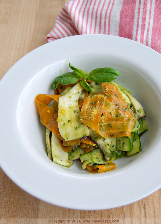 "Tri-color Vegetable ""Pasta"" with Avocado Pesto"
