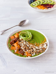 Green Smoothie, Sweet Potato & Granola Bowl