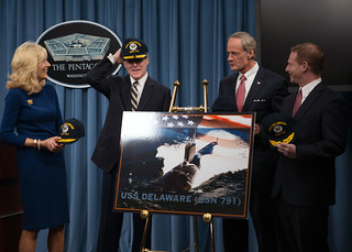 SECNAV wears his USS Delaware ball cap. | by Official U.S. Navy Imagery