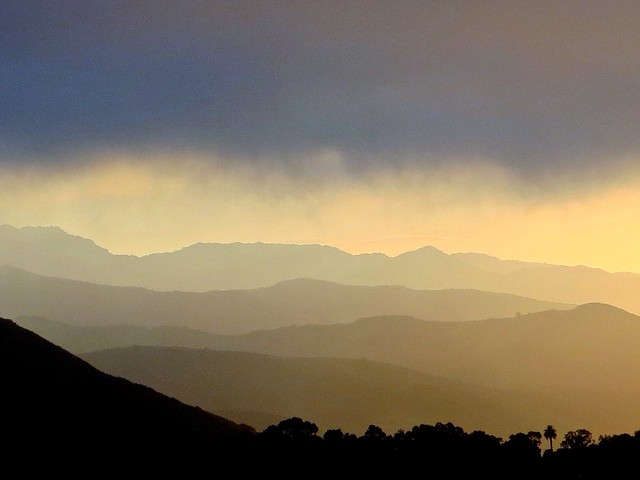 marine layer, layered mountains