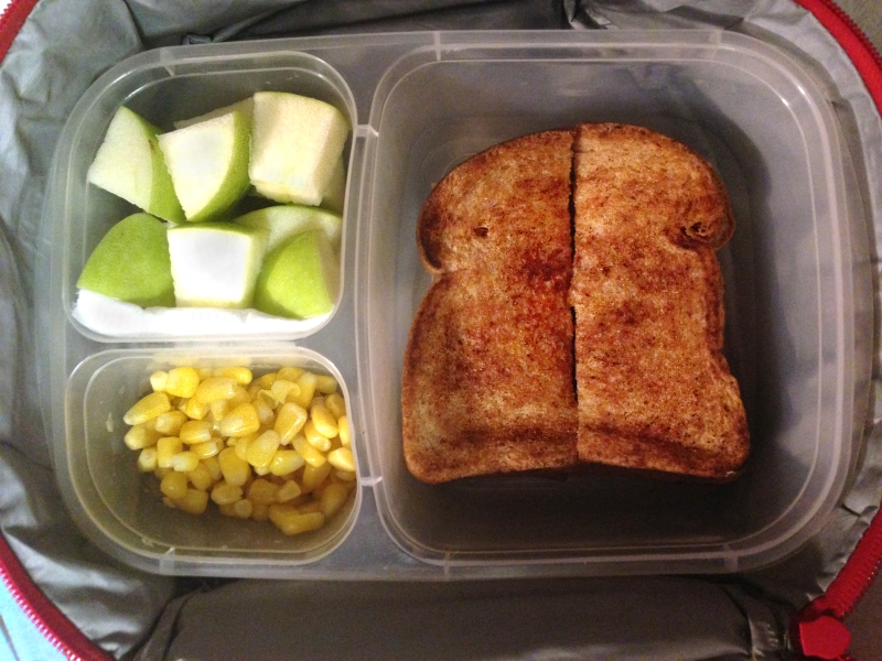 Grilled cheese, apples, & corn