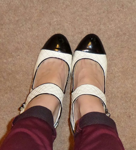 Matalan quilted cream and black Mary Janes