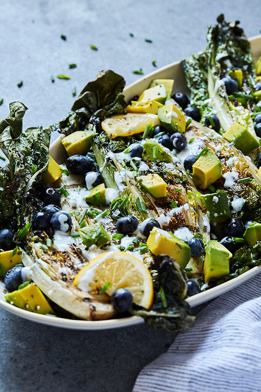 Grilled Romaine Salad with Blueberries, Avocado and Creamy Lemon Tarragon Vinaigrette