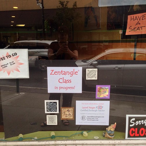 Laurel Regan, CZT - Zentangle class window display board in action!