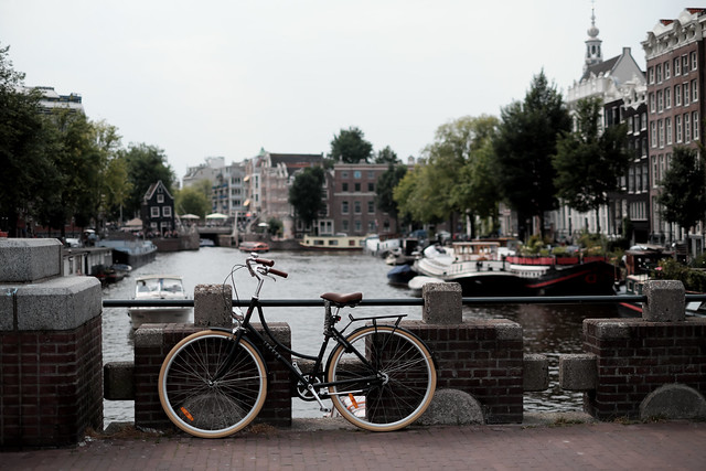 Bike at canal in Amsterdam 9