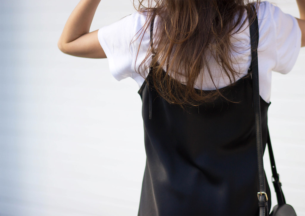 slip dress and t-shirt