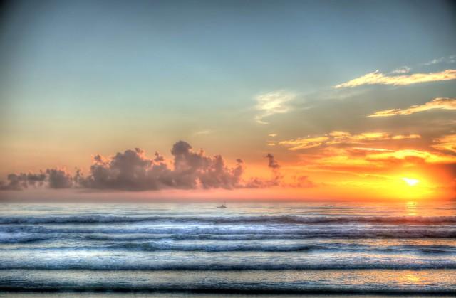 Kayak fishing at sunrise: NSB