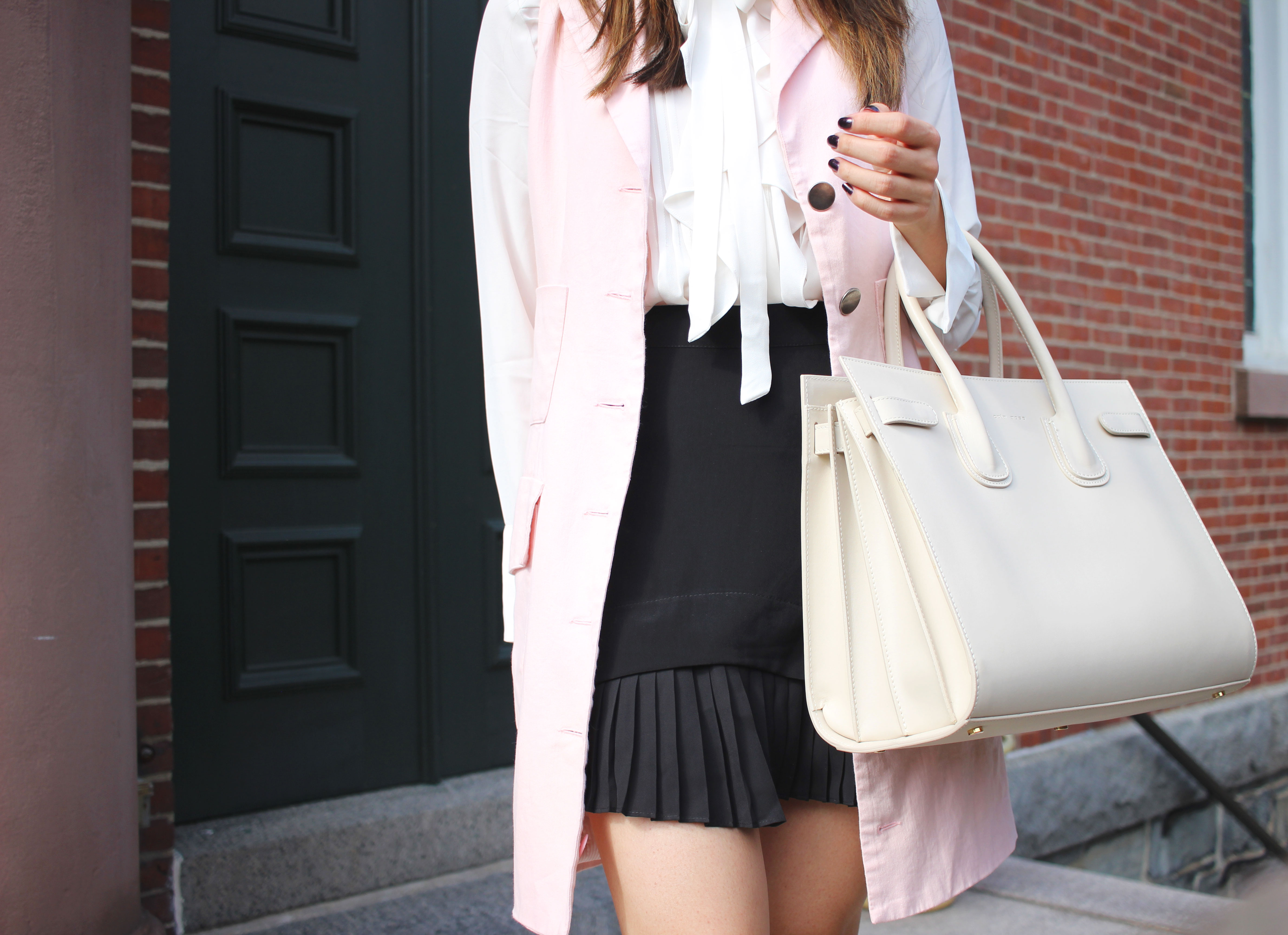 Pink long vest and sac du jour dupe