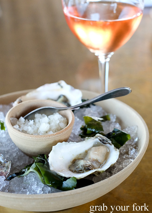Sydney rock oysters with lemon pepper granita at Bennelong Restaurant Sydney