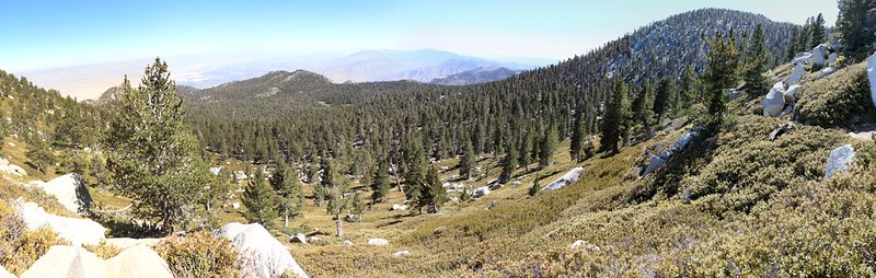 Panorama shot looking south with Jean Peak on the right from the San Jacinto Peak Trail
