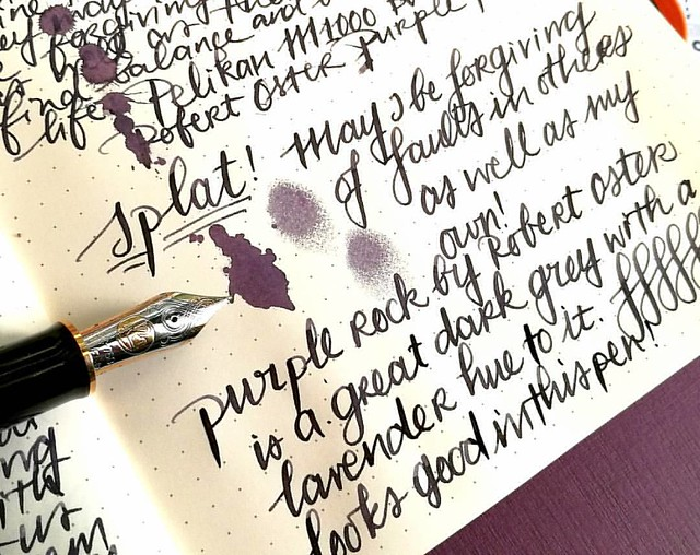 Starting off the day with a bit of #writtenmeditation in my Rhodiarama journal. Got some spatters of Purple Rock on it and you can really see that purple lavender hue on it :) Have a great day everyone 💜
