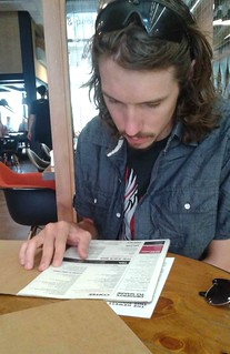 Kyle Checking out the Menu