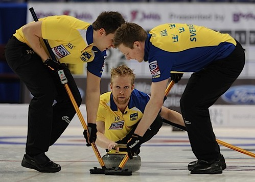 Victoria,B.C. Mar30-2013.Ford Men's World Curling Championship.Sweden skip Niklas Edin,lead Viktor Kjall,second Fredrick Lindberg.CCA/michael burns photo | by seasonofchampions