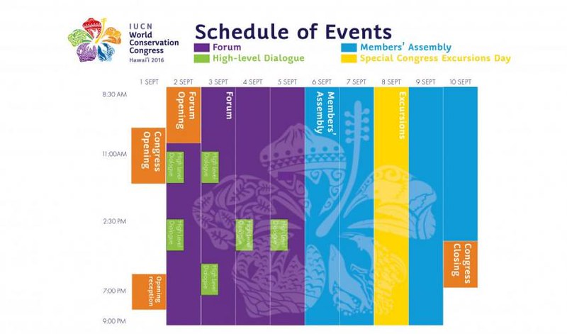 #IUCNCongress Schedule of Events
