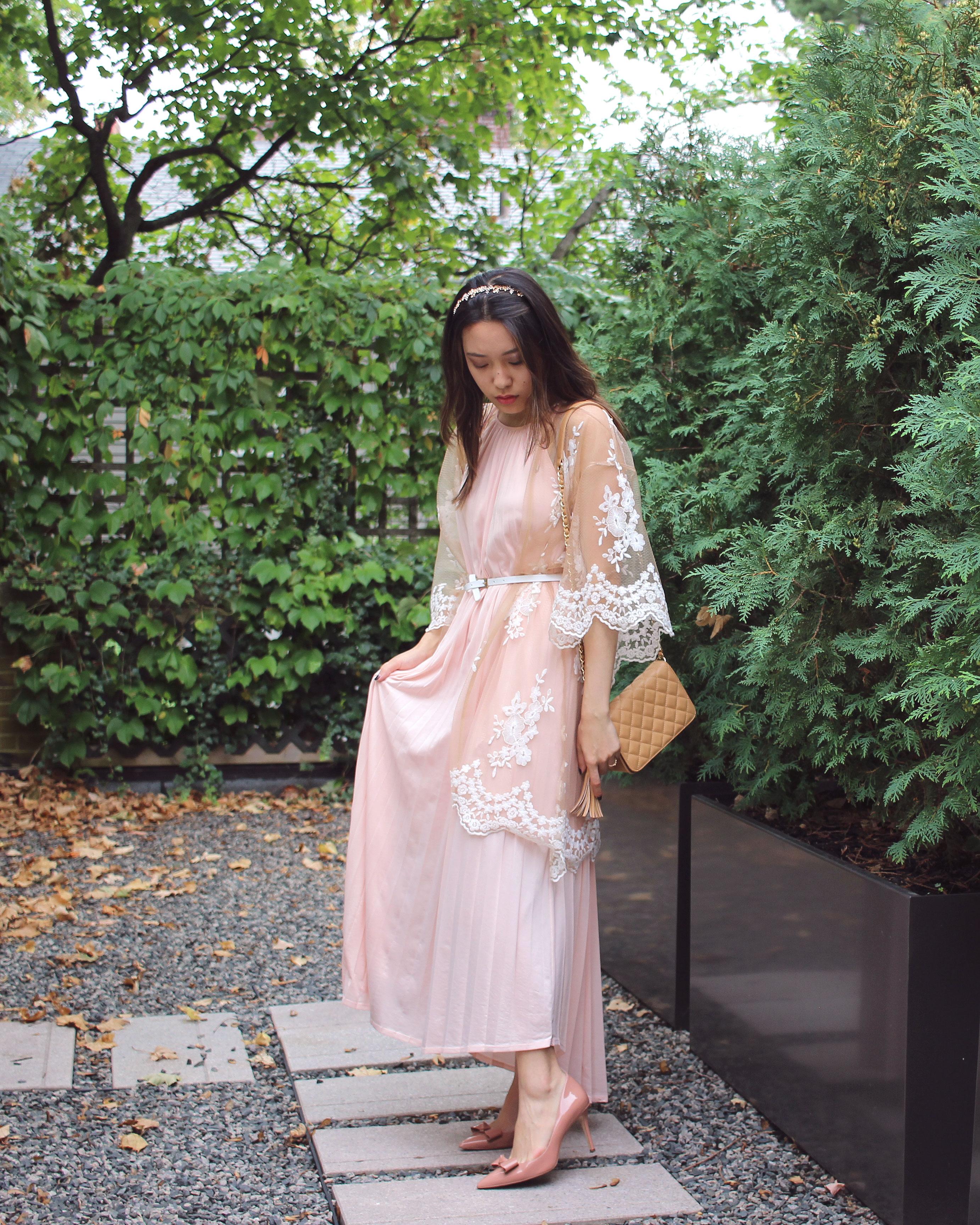Kimono over maxi dress