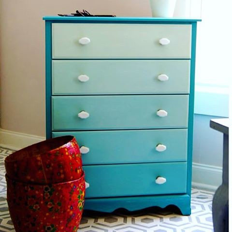 "Current inspiration to re-paint the dresser we scored on ""Buy Nothing"". Loving the ombré look!"