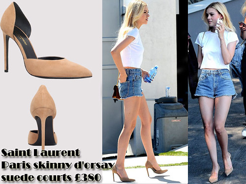 High waisted denim cutoffs shorts with a cropped tee & Saint Laurent Paris skinny d'orsay suede courts