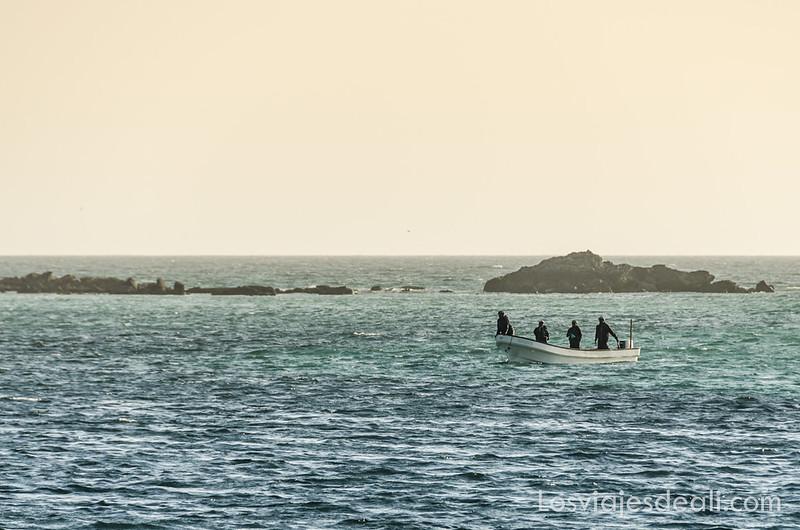 pescadores llegando a la playa en Masirah