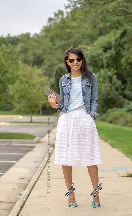 denim jacket, blue striped top, taupe clutch, white clip dot midi skirt, turquoise and blue gingham ankle-tie sandals
