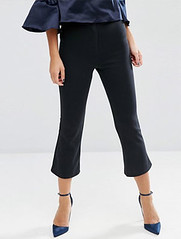 ASOS black cropped flared trousers