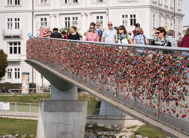 Love locks on the Makartsteg footbridge