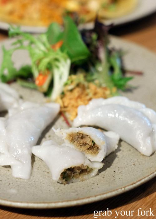 Inside the pan sip steamed tapioca dumplings with snapper and black pepper at Chat Thai at Gateway Sydney in Circular Quay