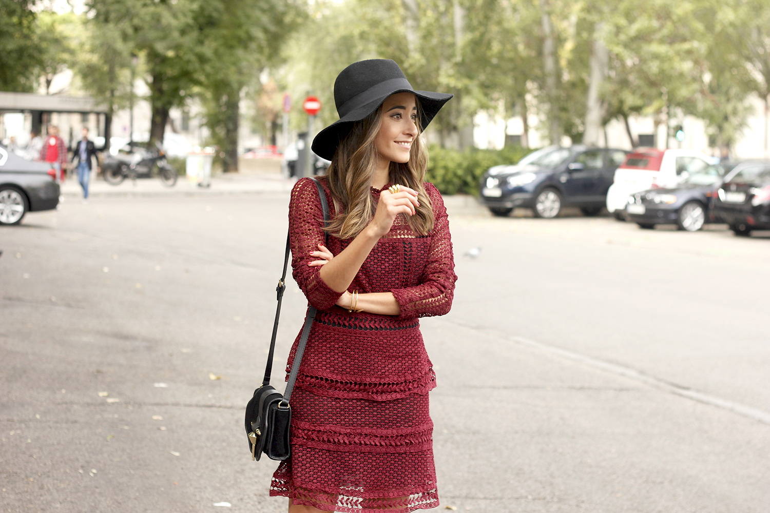 burgundy lace dress black heels hat accessories outfit fashion style14