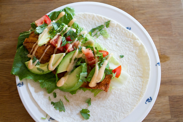 Fish taco with homemade mayo