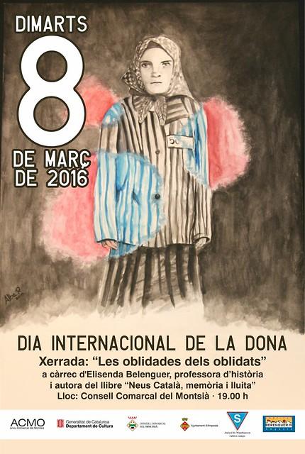 Cartell de l'Acte d'homenatge a la Neus Català pel 8 de març (Amposta, 2016)