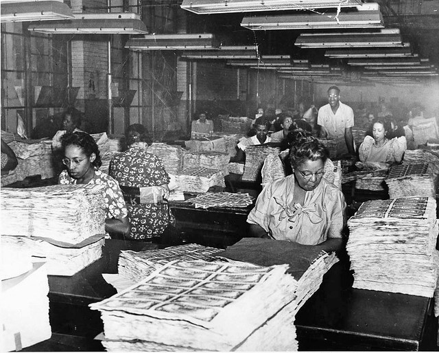 African American workers at the Bureau of Engraving: 1945 ca