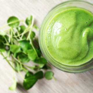 Green smoothie with watercress, banana and apple | by monica.shaw