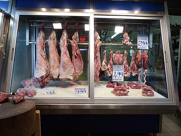 viande au marché d'Athènes