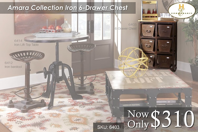 Amara Collection Iron 6 Drawer Chest