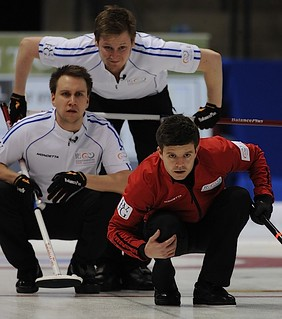 Penticton B.C.Jan13_2013.World Financial Group Continental Cup.Team North America skip Heath McCormick,lead Victor Kjall,second Frederick Lindberg.CCA/michael burns photo | by seasonofchampions