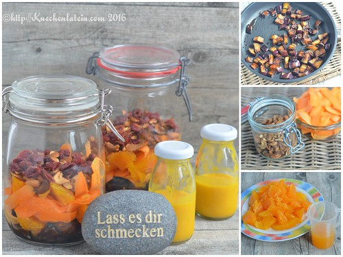 Auberginen-Cashewkern-Salat mit Karotten-Kardamom- Orangen-Dressing Collage
