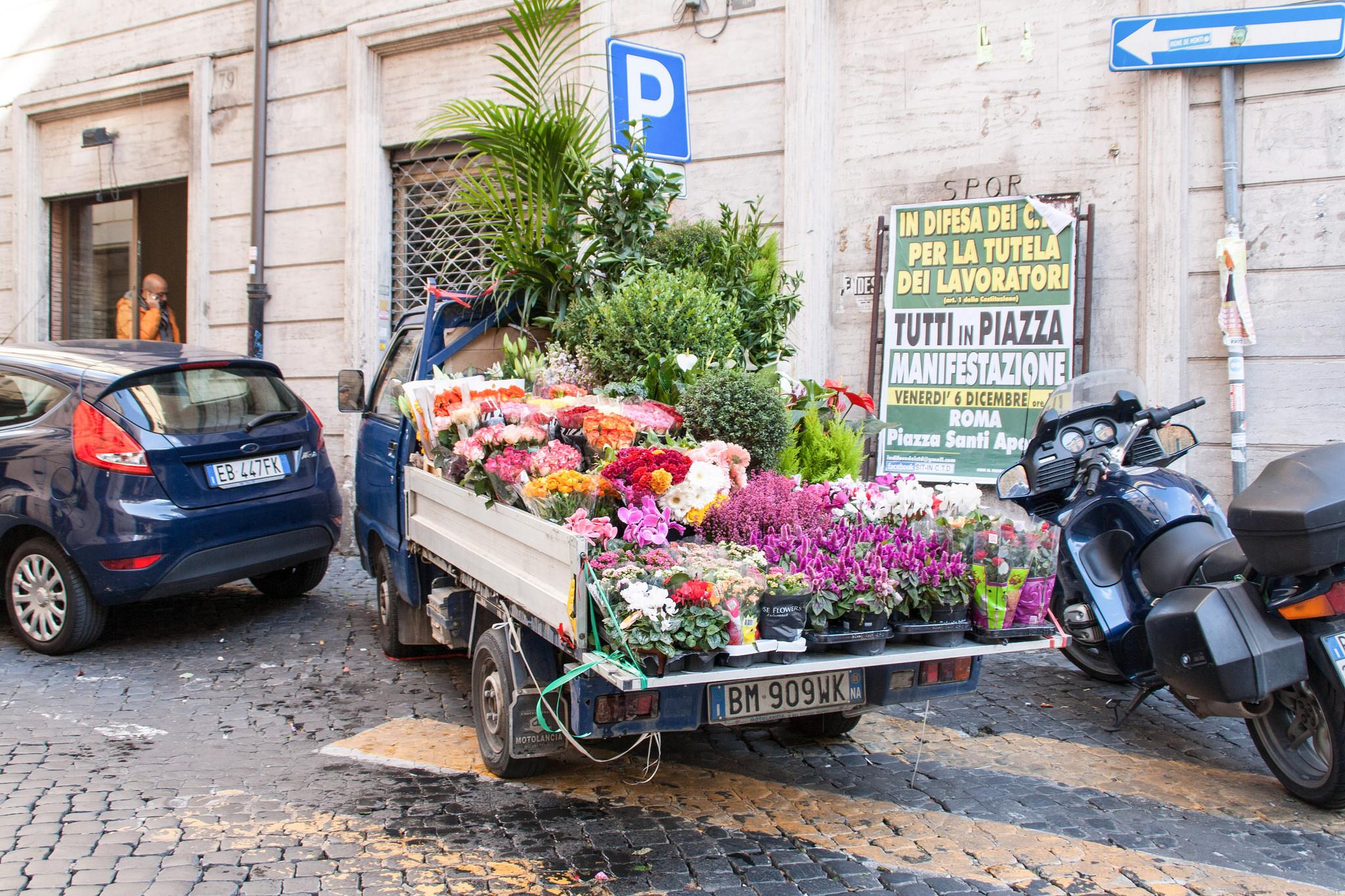 Flower truck in Rome