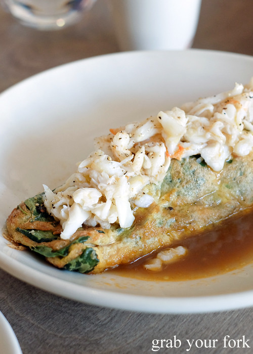 Hand picked Ballina spanner crab omelette at Saint Peter by Chef Josh Niland in Paddington Sydney