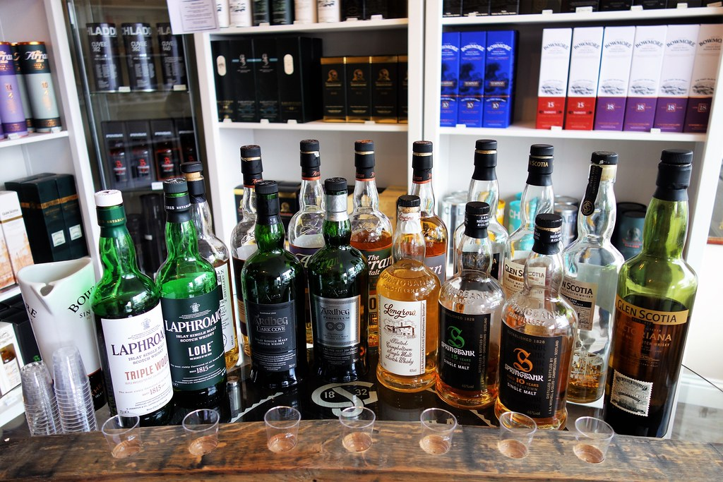 Local whiskies at Whisky West Coast, Tarbert, Scotland