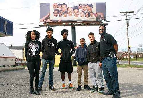 Residents with the Weinland Park Billboard