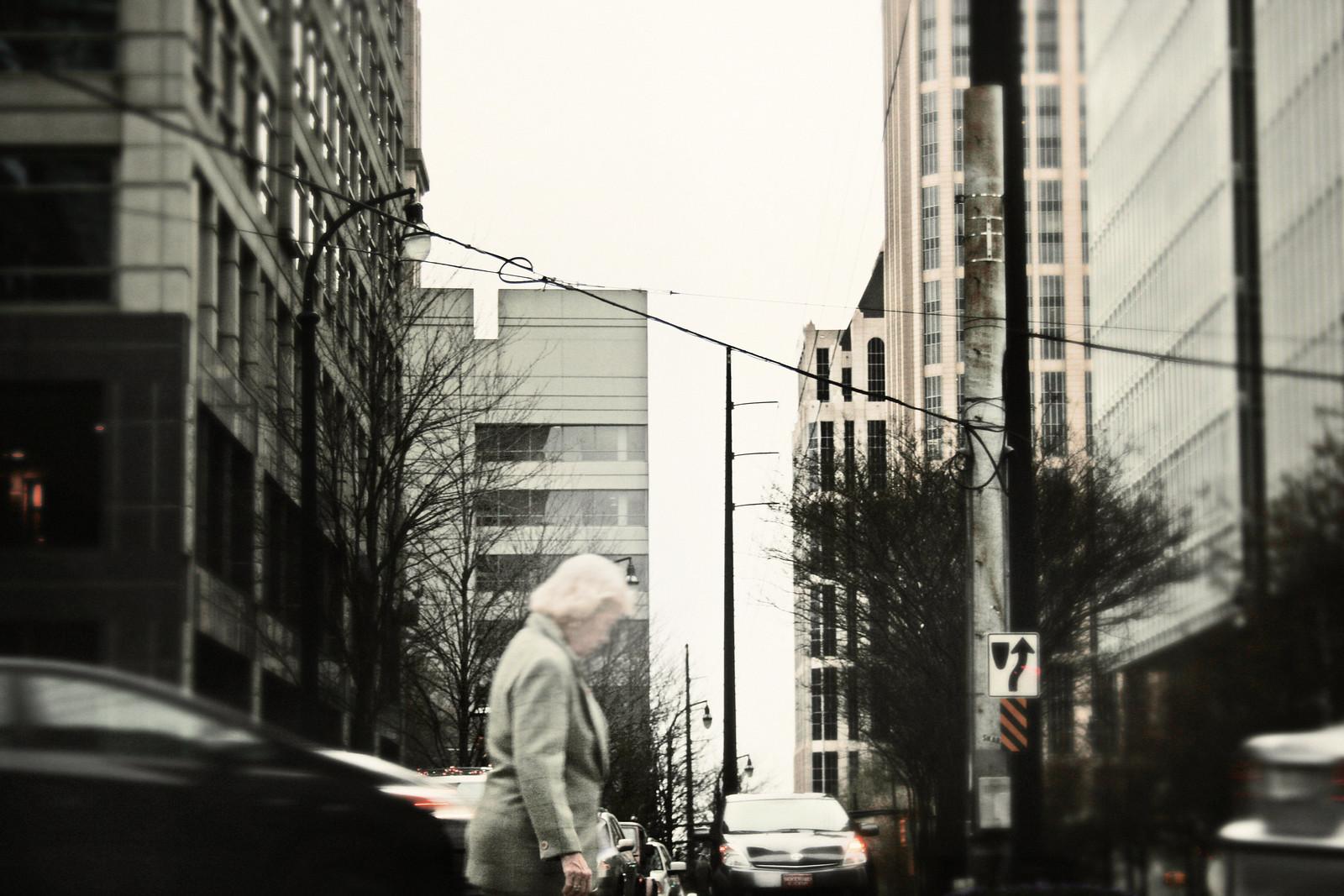 Woman Amid Cars, Dec, 2012