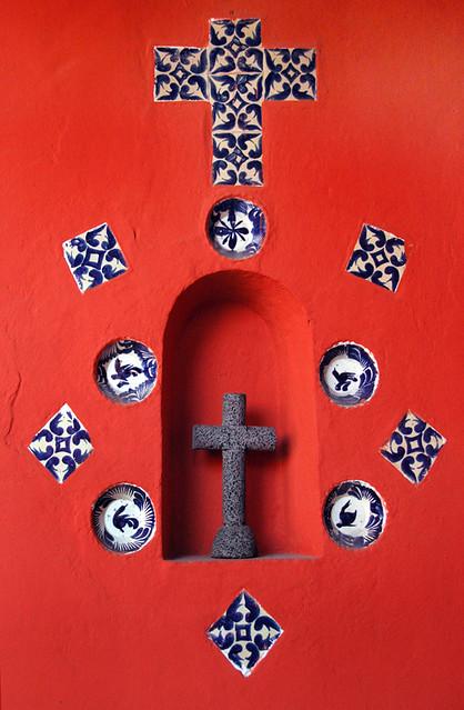 orange wall with cross, Coyoacán