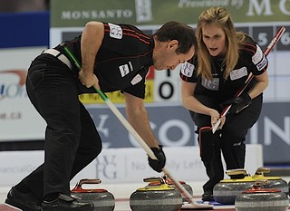 Penticton B.C.Jan12_2013.World Financial Group Continental Cup.Team North America second Brent Laing,skip Jennifer Jones.CCA/michael burns photo | by seasonofchampions