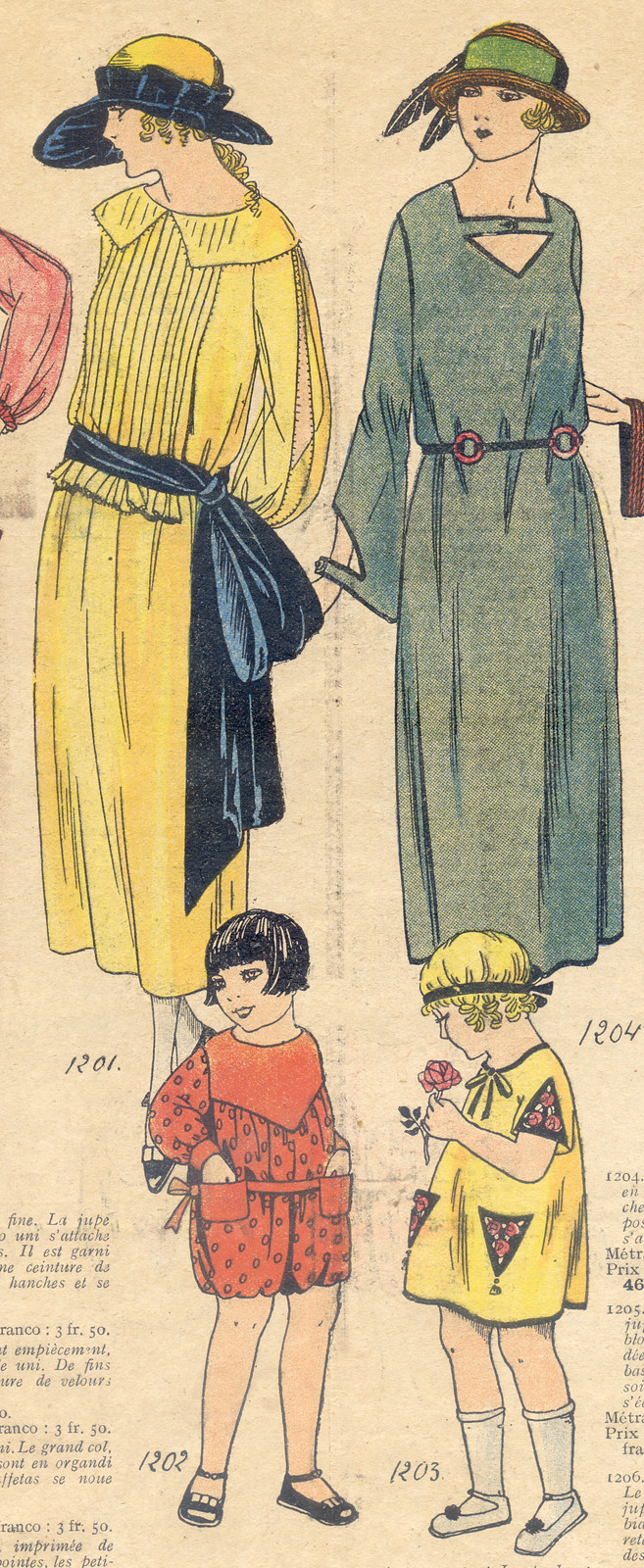 Les Dernières Modes de Paris, gravure de mode de 1922