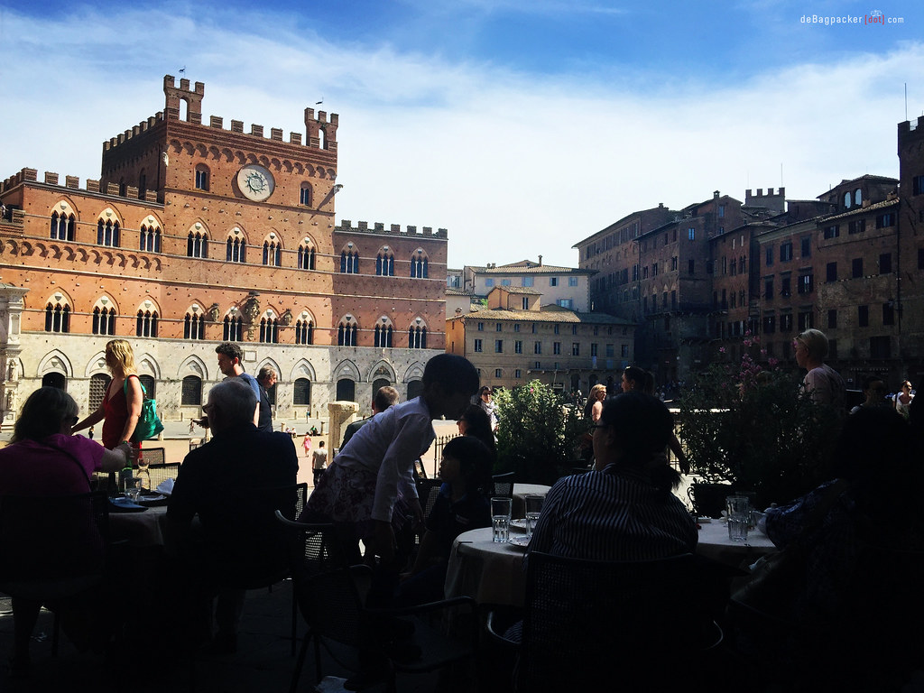 Enjoying Siena from Bar Il Palio