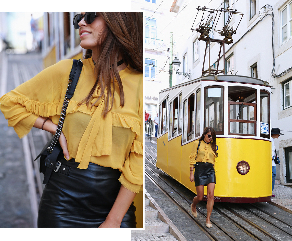Jessie Chanes Seams for a desire Lisboa Parfois Mustard Ruffled Blouse Faux Leather Skirt-1