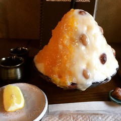 fuji❤︎half tachibana(type of citrus) & half amakoji(sweet rice koji) to share  #caféquarirêngué #kyoto #japan #shaveice #かき氷 #火裏蓮花 #京都 #橘 #甘糀 #latergram