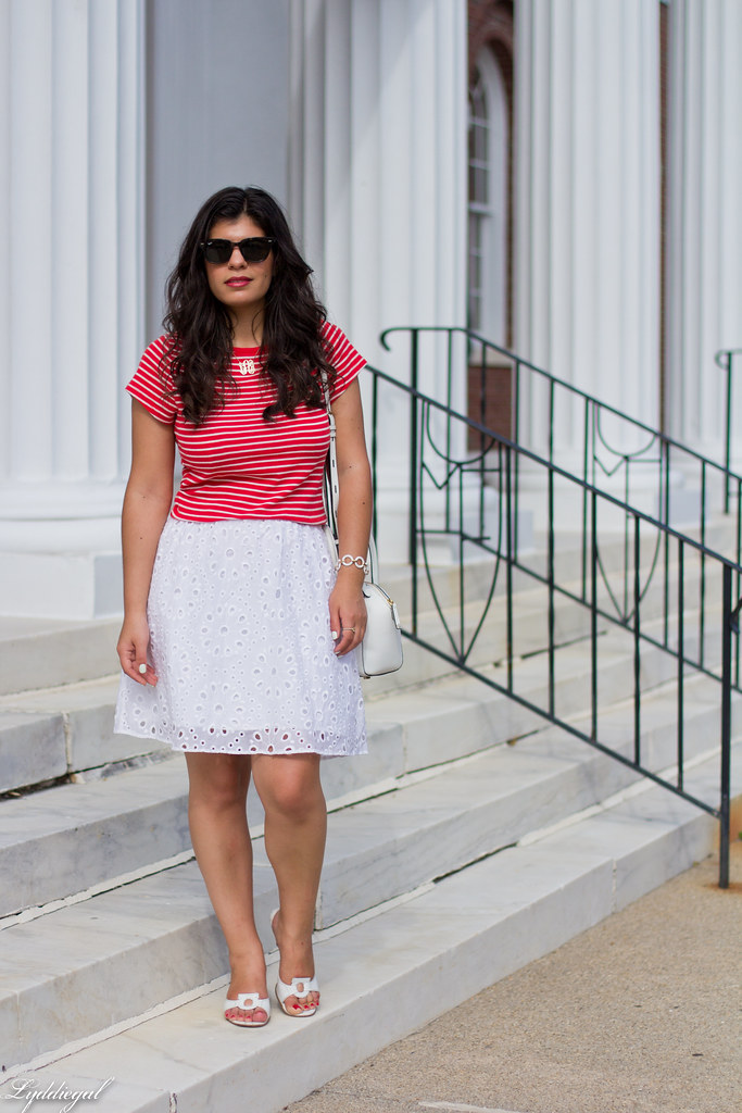 striped shirt, white eyelet lace skirt, ferragamo sandals.jpg