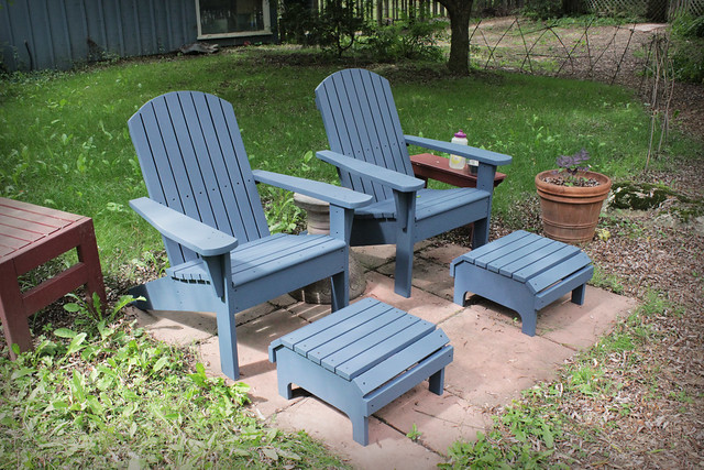 Painted Muskoka Chairs and Footstools