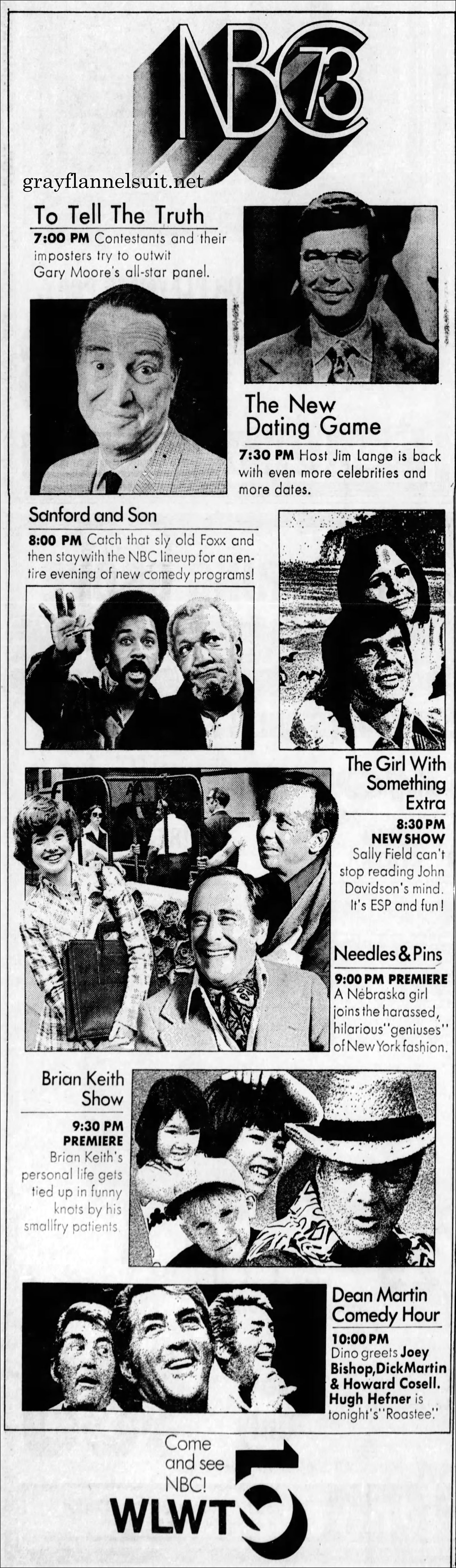 Tv Listings Flashback Nbc Prime Time September 21 1973 Grayflannelsuit Net