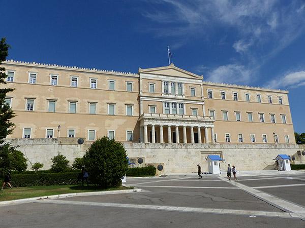 arrivée du parc national sur le parlement grec